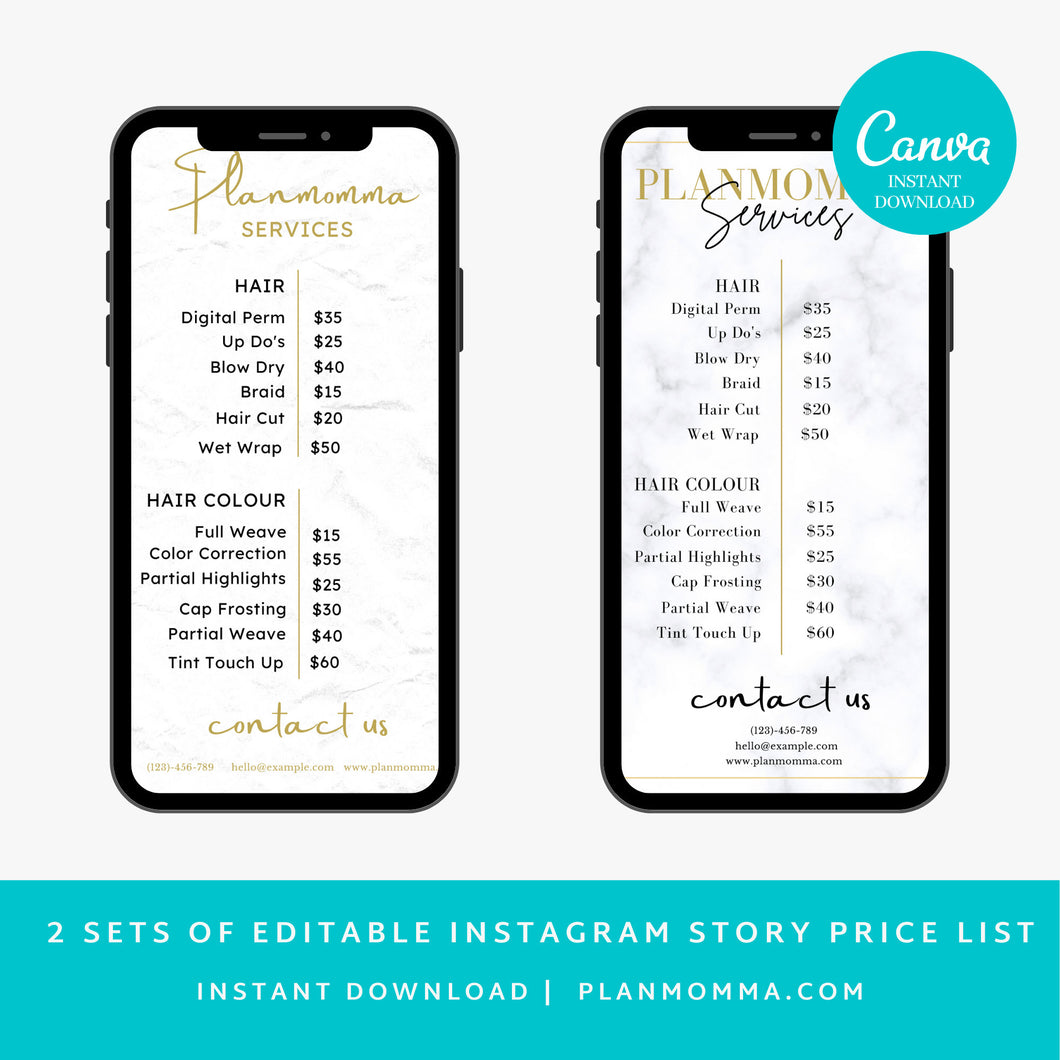 2 set of Marble Instagram Price List Story - Editable Instagram Story Price list, Beauty Salon Price List, DIY, Instagram Story Templates