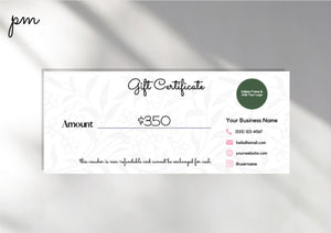 5 Gift Certificate Template for Beauty Business - Gift Card Printable Template, Gift Certificate Editable Gift Card Editable Gift Card