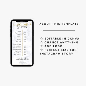 Marble Instagram Story Price List - DIY, Editable Instagram Post Price list, Instagram story template, Business Price List,Makeup Price List