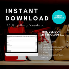 Load image into Gallery viewer, 10 Purse Vendor List Wholesale US Based ONLY | Purses handbags purse Vendors list wholesale bag Distributors Instant Download