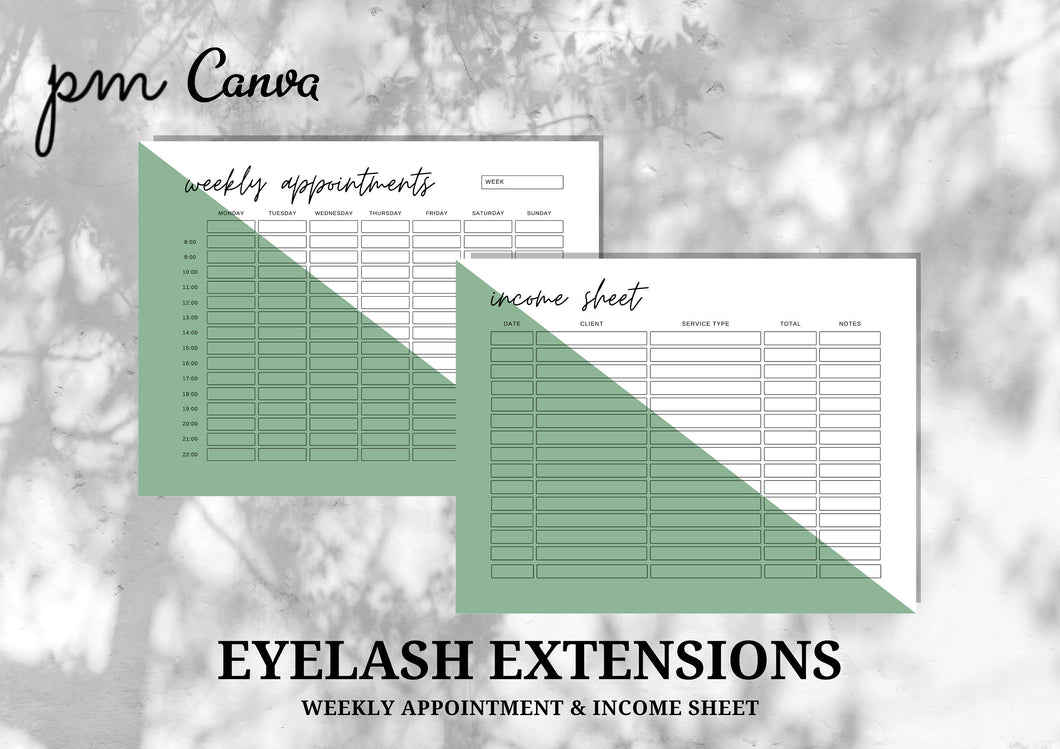 Weekly Appointment & Income Sheet for Eyelash Extensions Business - Instant Download, Boutique Templates, Lash Extension Form, Editable Form