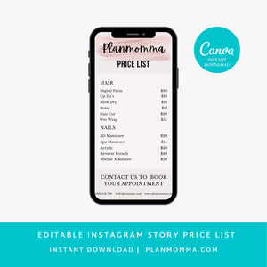 Light Pink Instagram Story Price List Template - Business Price List, Beauty Salon Price List, Makeup Price List, Canva, DIY,Story templates