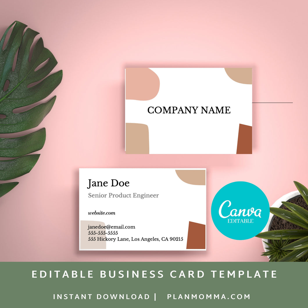 Boho Business Card - Instant Download | Abstract card, modern business card, printable business card, canva business card, premade card