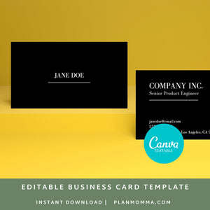 black business card template - Instant Download | elegant business card, formal business card, simple business card minimalist business card