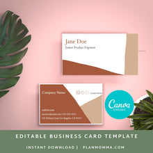 Load image into Gallery viewer, Abstract business cards - Instant Download | Brown business card, horizontal business card, printable business card, boho biz card, canva