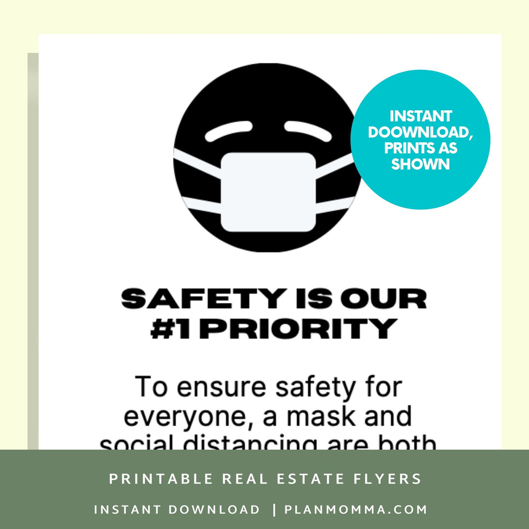 Wear A Mask Sign - Printable | open house tour, home tour flyer, open house agent, open house realtor, real estate open, coronavirus realtor