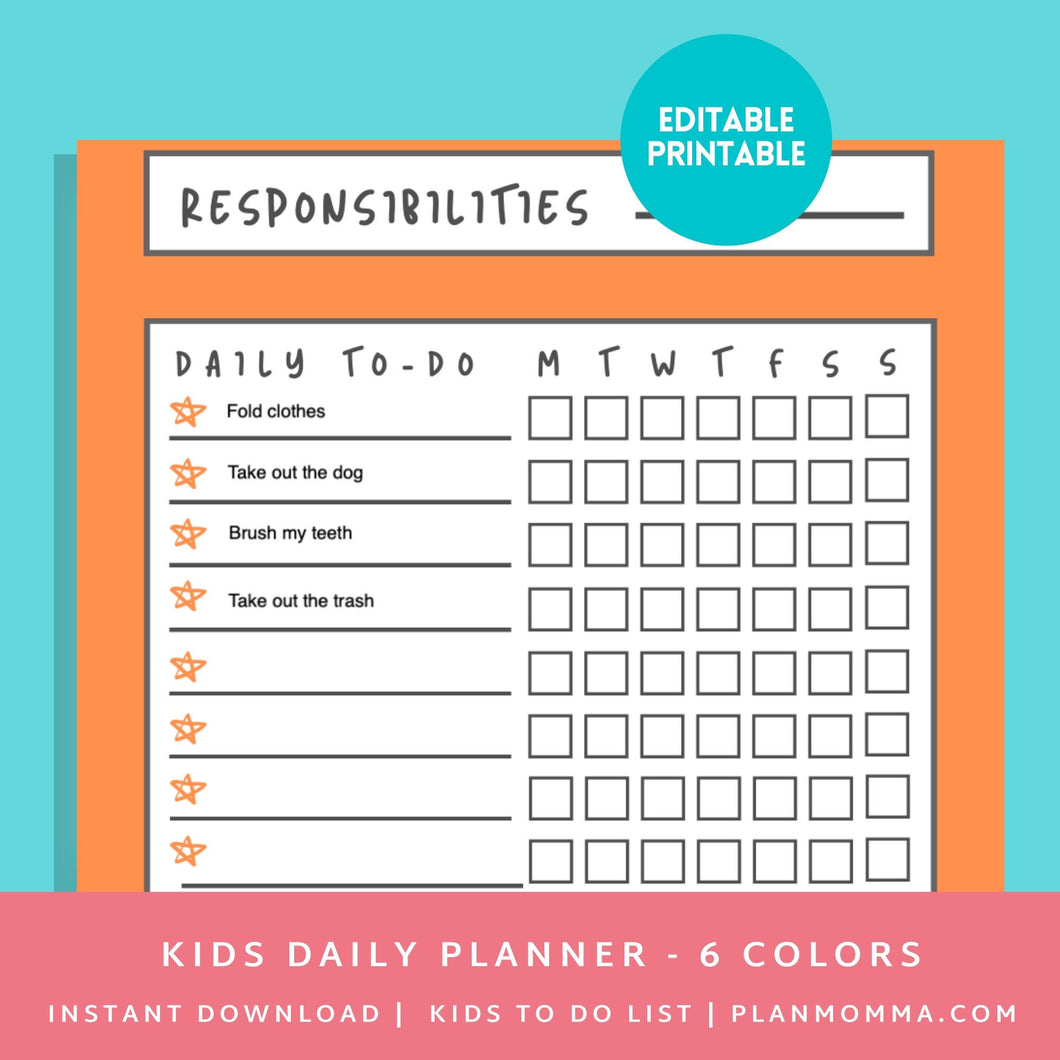 To do List Kids Checklist - Printable Kid To Chore List - Child Daily Planner - Kid Organizer | Instant Download ,Editable