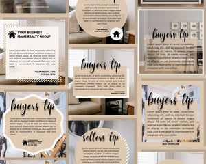 10 Instagram Templates for Buyer & Seller Tips - Real Estate, Instagram Posts, Template Bundle for Instagram, Marketing, Canva
