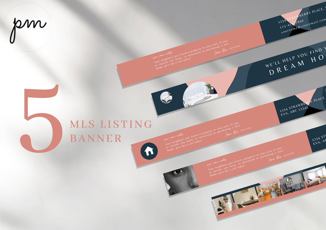 Modern Pink MLS Listing Banner Canva Template - Real Estate Listing Banner, Real Estate Marketing, Banner template, Realtor Marketing Tool