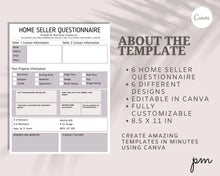 Load image into Gallery viewer, Real Estate Home Seller Questionnaire 6 Design - Real Estate Flyer, Real Estate Forms, Seller Questionnaire, Real Estate Tools, Seller Guide