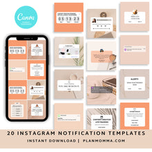 Load image into Gallery viewer, Minimalist Instagram Templates Set of 20 - Instagram Templates Bundle, Engagement Booster Templates, Notifications and Reminders Templates