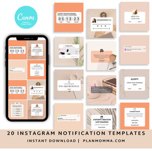 Minimalist Instagram Templates Set of 20 - Instagram Templates Bundle, Engagement Booster Templates, Notifications and Reminders Templates