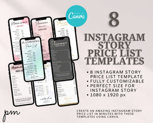 8 Instagram Story Price List Template Bundle - Instagram Marketing, Makeup Price List, Story Highlights, IG Story, Salon Price List Bundle,