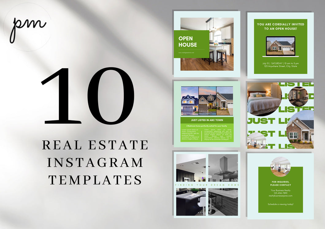 10 Instagram Real Estate Template - Editable Realtor Agent Branding Posts, Modern Real Estate Design, Instagram Templates