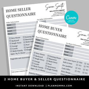 Buyer & Seller Questionnaire Bundle Canva Template - Real estate marketing, Canva, Realtor Template, Real Estate Flyer,Seller and Buyer Form