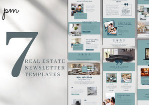 Blue Real Estate Kit - Modern Templates, Instagram Template, Business Card, Email Newsletter, MLS Listing Banner, Facebook Cover