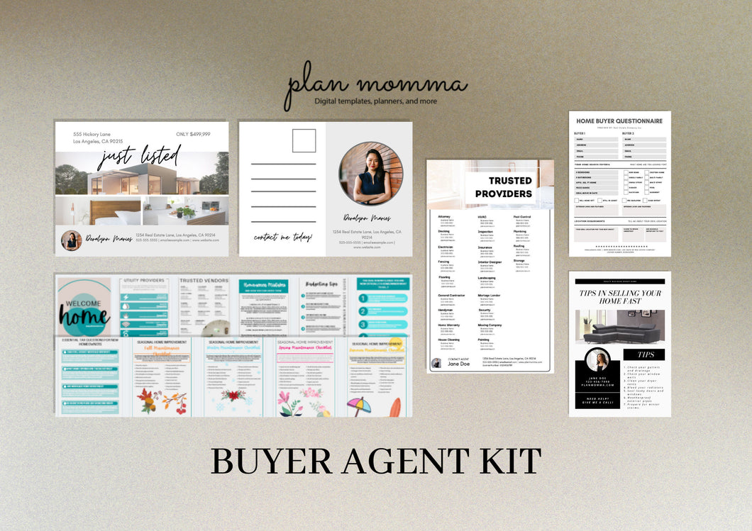Buyer Agent Kit - Real Estate Email Template, Realtor Postcard, Home Buyer Guide, Real Estate Flyer, Home Buyer Questionnaire, Canva