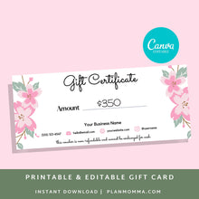Load image into Gallery viewer, Printable Gift Card - Gift Certificate Download Gift card printable template printable, gift certificate editable, gift card editable