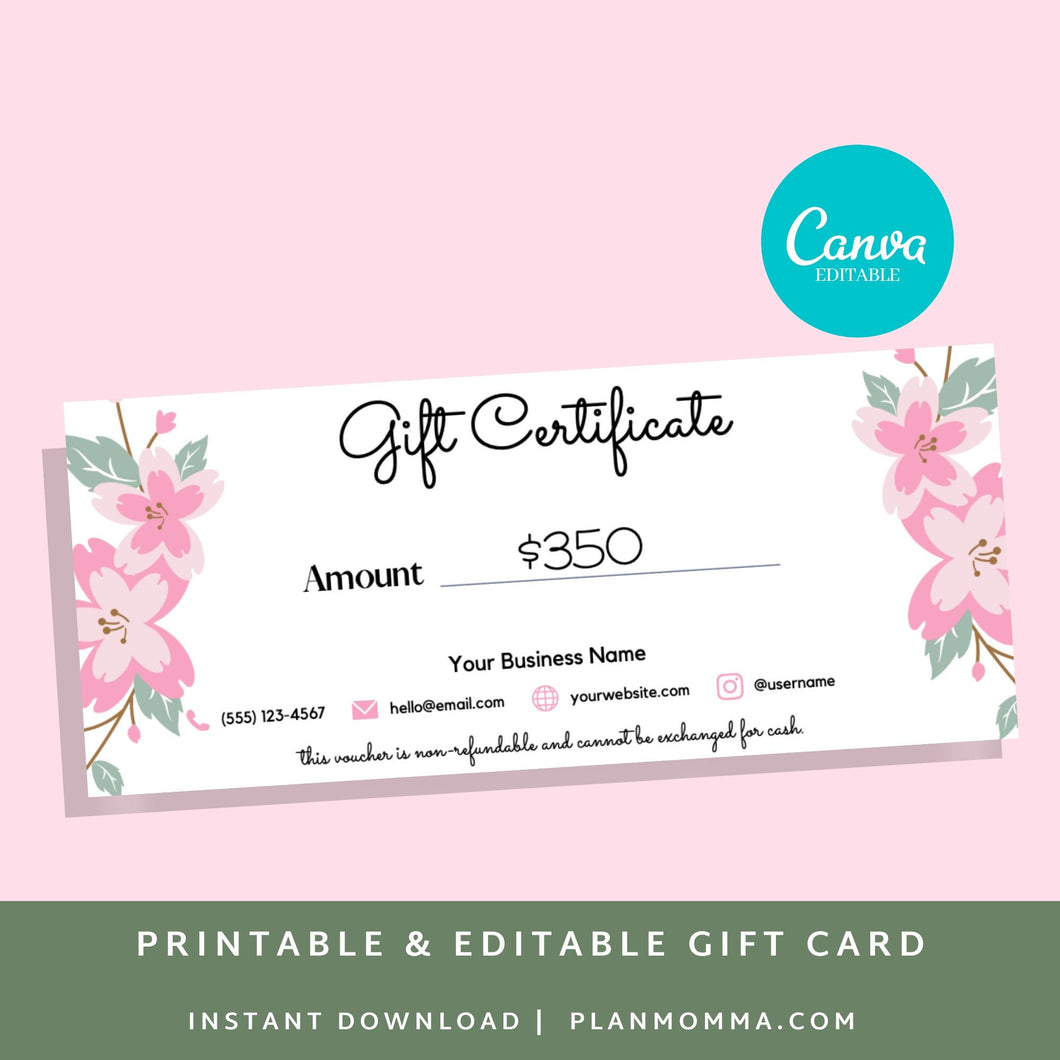 Printable Gift Card - Gift Certificate Download Gift card printable template printable, gift certificate editable, gift card editable