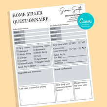 Load image into Gallery viewer, Buyer & Seller Questionnaire Bundle Canva Template - Real estate marketing, Canva, Realtor Template, Real Estate Flyer,Seller and Buyer Form