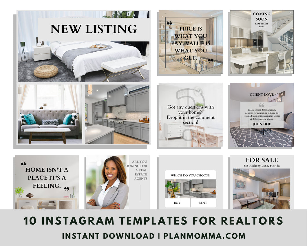 Real Estate Instagram Templates Set of 10 - Instagram Posts, Social Media Posts for Realtors, Editable Realtor Agent Branding Posts, Realtor