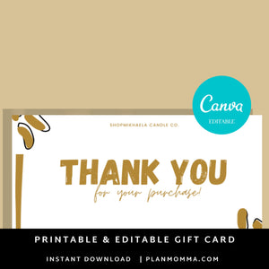 Thank You for Your Purchase Template PDF SVG | Canva Template Thank you for your order | Thank you package inserts | Customer thank