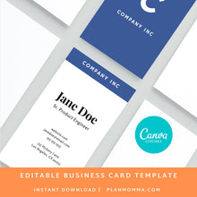 Load image into Gallery viewer, Vertical Business Card Blue | Instant Download Printable Canva Template, Printable Business Card, Custom Business Card, DIY Business Card