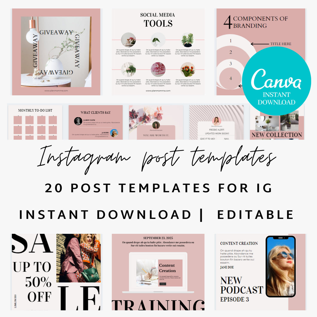 20 Instagram Post Canva Templates - Instagram Posts, Instagram Templates, IG, Canva Template, Social Media Templates, Marketing, Canva