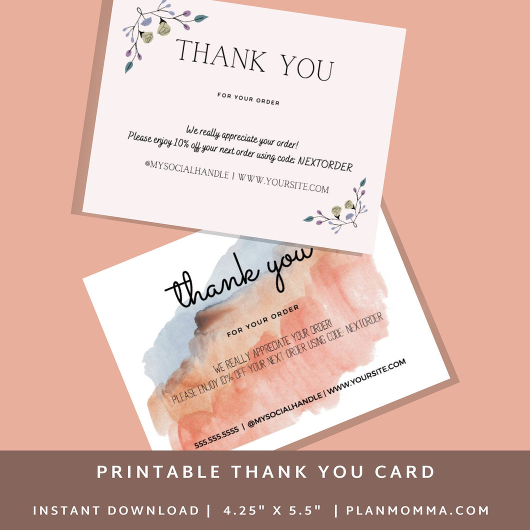 Printable Bundle Thank you cards business template| Canva Template Thank you for your order | Thank you package inserts | Customer thank