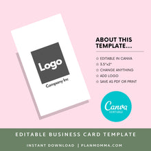 Load image into Gallery viewer, Vertical Business Card | Instant Download Printable Canva Template, Printable Business Card, Custom Business Card, DIY Business Card