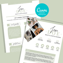 Load image into Gallery viewer, Influencer Media Kit - 2 Page Media Kit, Media Kit Template Influencer, Canva Media Kit, Influencer Media Kit, Press Kit, Instant Download