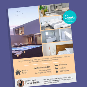 Real Estate Listing Flyer Canva Template - Instant Download | Just listed flyer, real estate marketing flyer, Canva realtor flyer