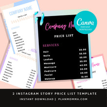Load image into Gallery viewer, 2 Instagram Price List Template Kit | Instagram Story Template | Price List Template | Beauty Price List | Price Template | Story templates
