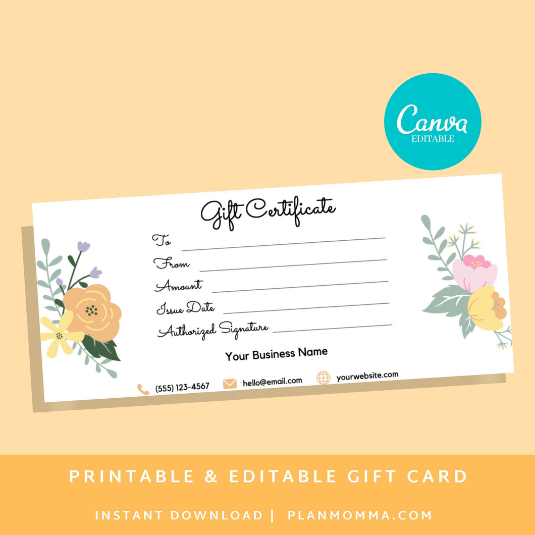 Gift Certificate Template Printable INSTANT DOWNLOAD gift card printable gift certificate template printable, gift certificate editable