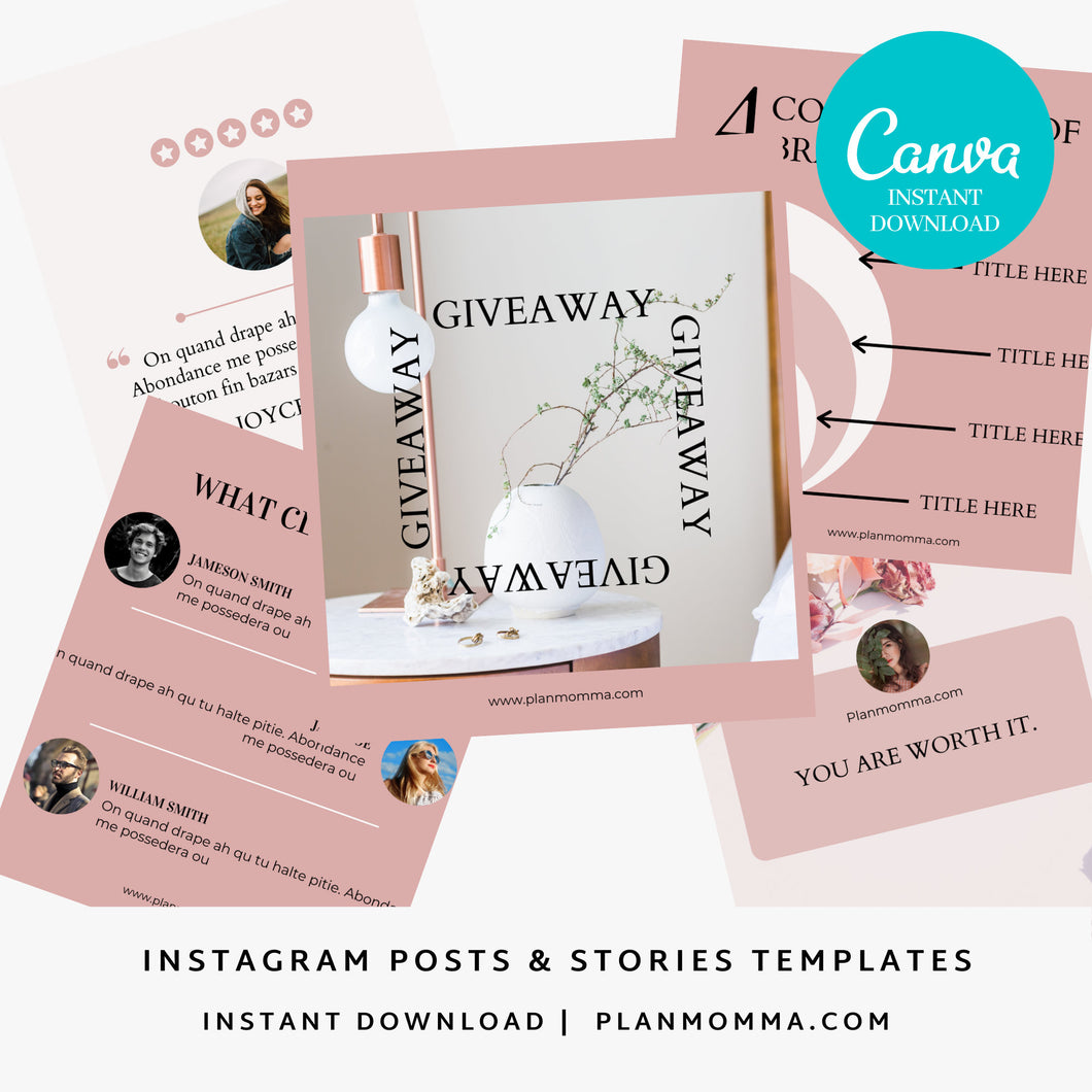 10 Instagram Post & Stories Canva Templates -Instagram Posts, Instagram Coaching Instagram template business, Social Media Templates, Canva