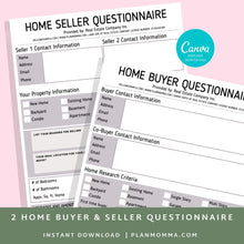 Load image into Gallery viewer, Buyer and Seller Questionnaire, Real Estate Home Buying Guide, Home Selling Guide,Buyer Seller Packet, Real Estate Marketing Templates