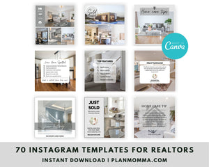 70 Real Estate Instagram Posts Canva Template - Real Estate Marketing, Social Media Templates for Realtors, Modern Real Estate Design,