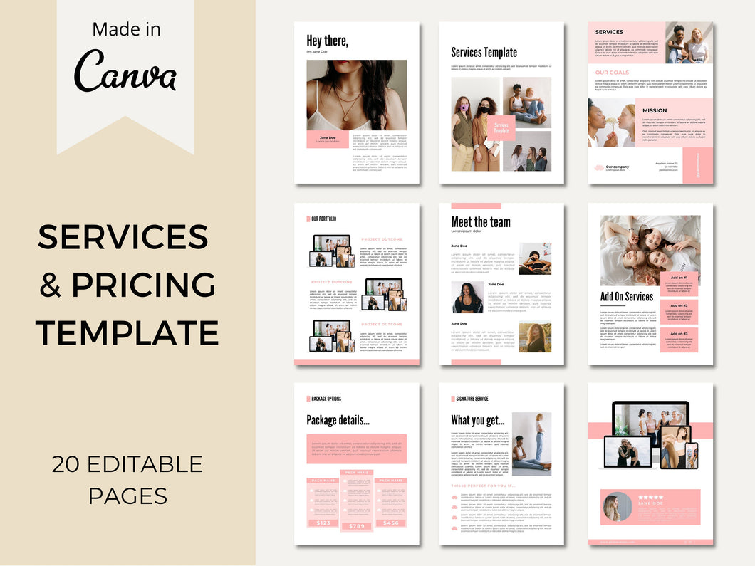 Services and Pricing Guide Canva Template, Portfolio Template, Pricing Template, Virtual Assistant Services Guide, Client Welcome Packet