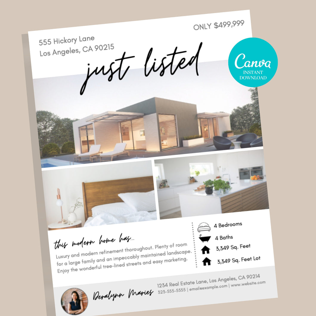 Real Estate Flyer Template - Instant Download | Just listed flyer, Open house flyer, real estate marketing flyer, Canva realtor flyer,