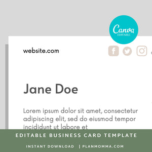 Modern Business Card - Instant Download | Simple business card, printable business card, business card template, canva business card
