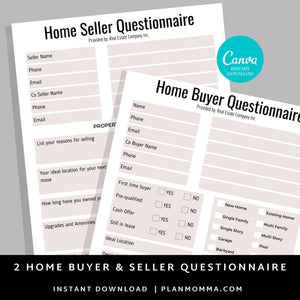 Set of Home Buyer and Seller Questionnaire, Home Buying Guide,Home Selling Guide,Buyer Seller Packet, Real Estate Marketing Templates