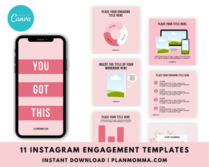 Instagram Engagement Posts and Notification Templates - Engagement Booster Templates, Social Media Template for Canva, Social Media Template