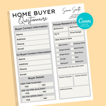 Load image into Gallery viewer, Home Seller and Buyer Guide Checklist - Real Estate Form, Canva Template, Client Questionnaire Form, Buyer and Seller Consultation Form, PDF