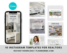 Load image into Gallery viewer, Real Estate Instagram Templates Set of 10 - Instagram Posts, Social Media Posts for Realtors, Editable Realtor Agent Branding Posts, Realtor
