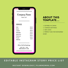 Load image into Gallery viewer, 2 Pack Instagram Price List Template | Instagram Story Template | Price List Template | Beauty Price List | Price Template | Story templates