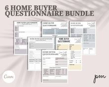 Load image into Gallery viewer, Home Buyer Real Estate Questionnaire 6 Designs - Home Hunting Buying Checklist, Lead Magnet, Buyer Questionnaire, Real Estate, Buyer Guide
