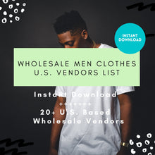 Load image into Gallery viewer, Men Vendor list Wholesale Men Clothing - Instant Download, Wholesale Fashion Vendor List Men, Mens apparel, mens online boutique