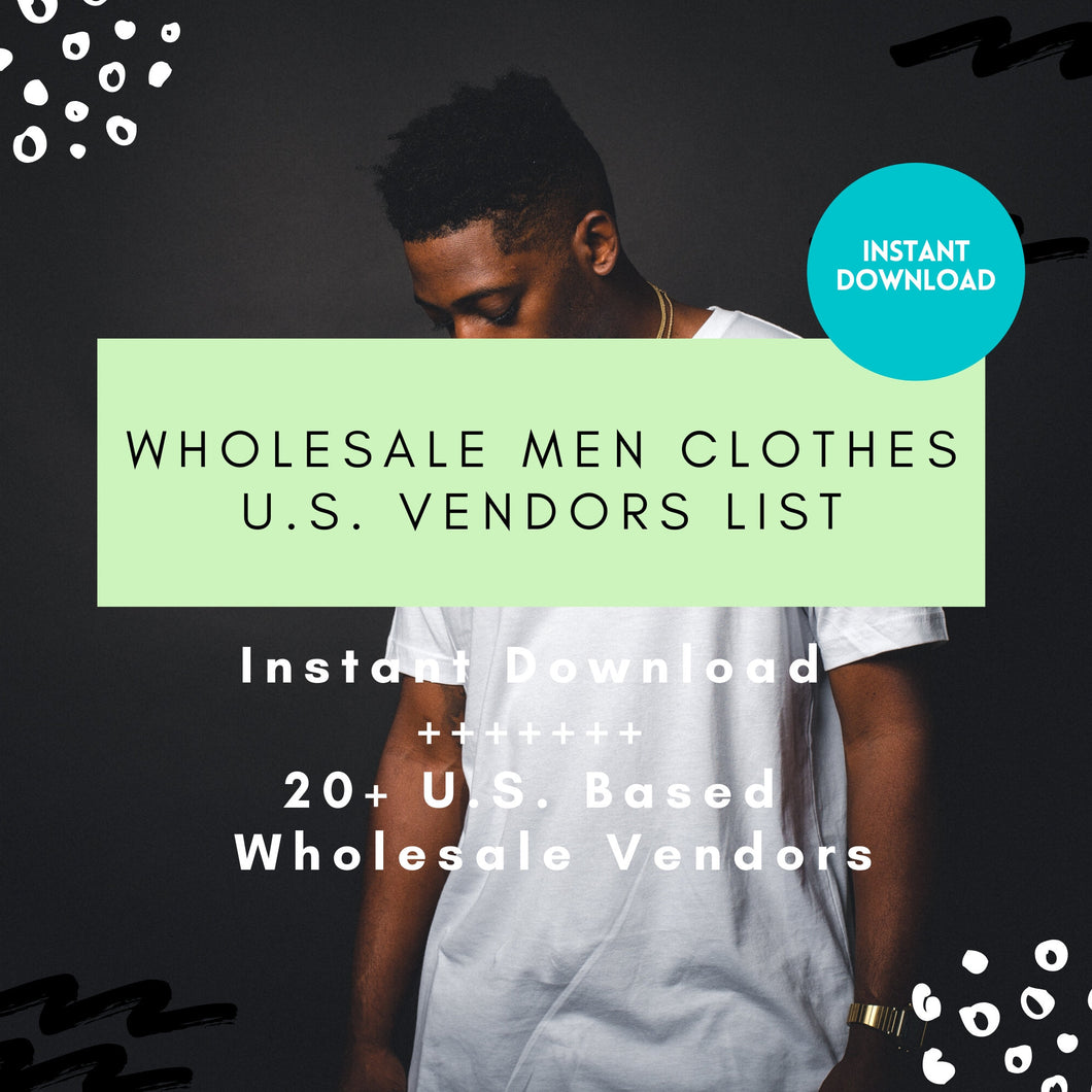 Men Vendor list Wholesale Men Clothing - Instant Download, Wholesale Fashion Vendor List Men, Mens apparel, mens online boutique