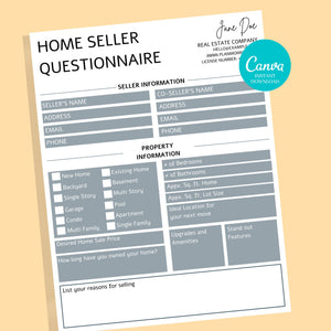 2 Buyer and Seller Questionnaire, Real Estate Home Buying Guide, Home Selling Guide,Buyer Seller Packet, Real Estate Marketing Templates