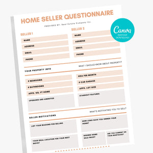 Home Seller Questionnaire - Realtor Form, Real Estate Marketing, Realtor Tools, Seller Intake Forms PDF, Printable Real Estate Forms